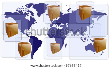 World map with boxes for international shipment - stock vector
