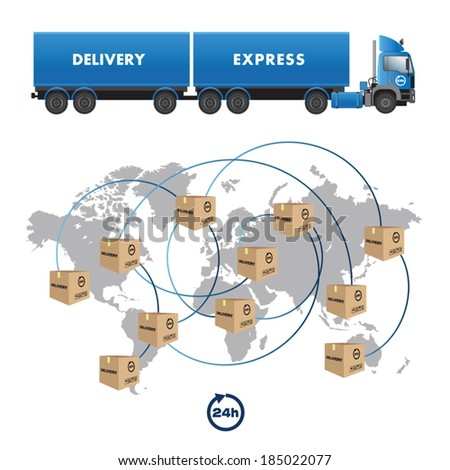 World map with boxes for international shipment. Vector illustration - stock vector