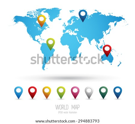 World map with collection of 3D pointers - stock vector