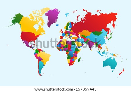 World map with colorful countries Atlas. EPS10 vector file organized in layers for easy editing. - stock vector