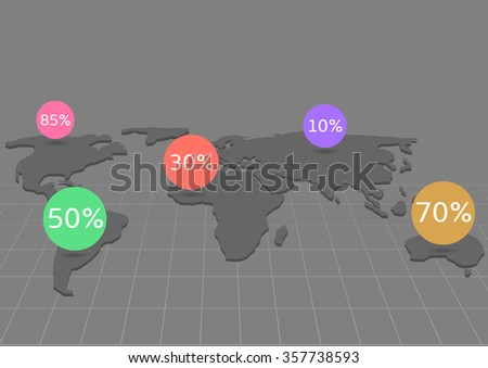 World map with colorful pointers. Vector illustration - stock vector