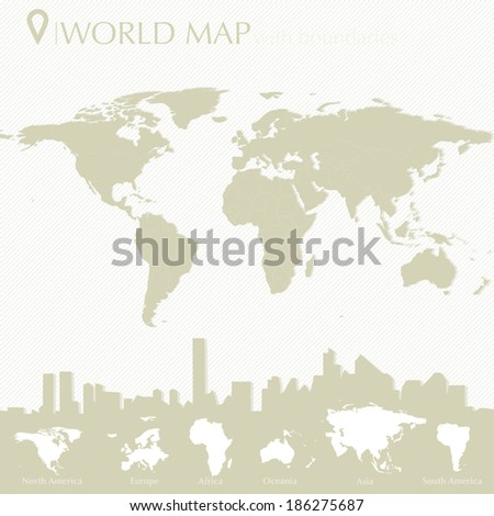 World map with countries in editable vector format - stock vector