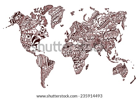 World map with countries made of ethnic textures  - stock vector