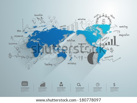 World map with creative drawing chart and graphs business success strategy plan idea, Business world concept modern design template workflow layout, diagram, step up options, Vector illustration - stock vector