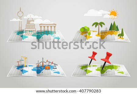 World map with different infographic elements - stock vector