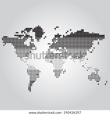 World Map with dots of different sizes - stock vector