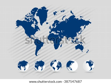 World map with earth globes, editable vector. - stock vector