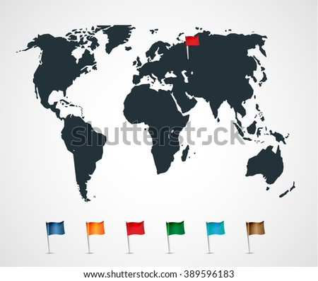 World map with flag icons - stock vector