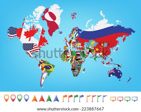 World map with flag on blue background - stock vector