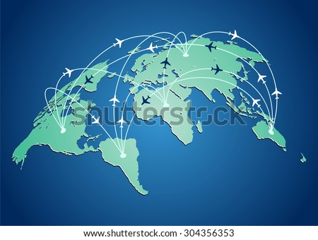 World map with flight routes airplanes in vector - stock vector
