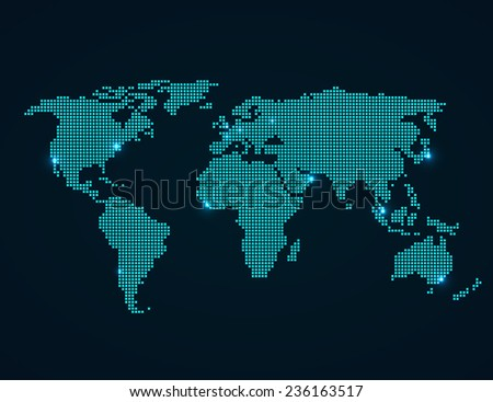 World Map with folded squares vector illustration - stock vector
