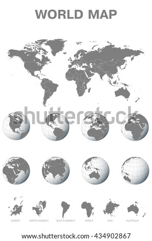 world map with globe and continents illustration - stock vector