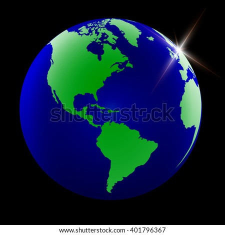 World Map with Globes detailed editable. Vector illustration. - stock vector