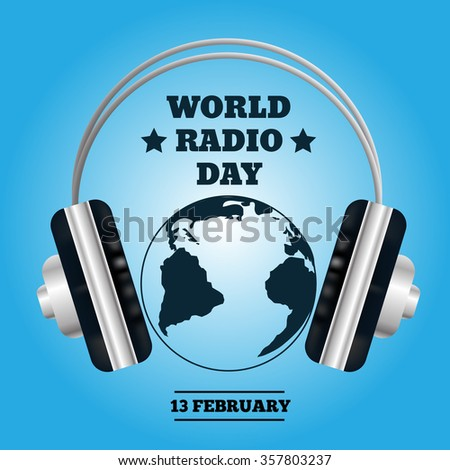World map with headphones. Music concept radio day eps 10 - stock vector