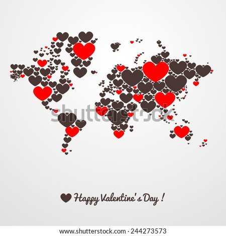 World map with hearts. Valentines day. - stock vector