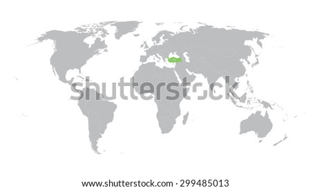 world map with indication of Turkey - stock vector
