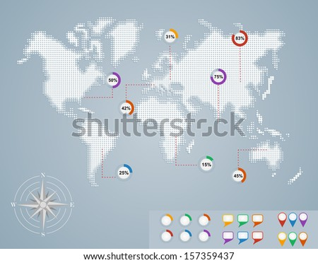 World map with infographics elements template. EPS10 vector file organized in layers for easy editing. - stock vector