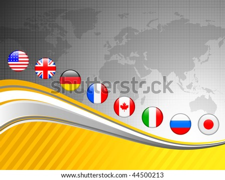 World Map with Internet Flag Buttons Background Original Vector Illustration - stock vector