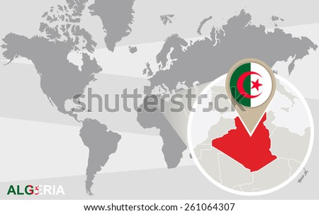 World map with magnified Algeria. Algeria flag and map. - stock vector