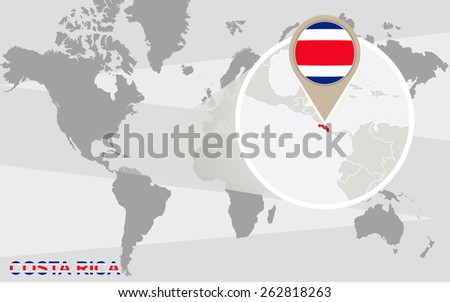 World map with magnified Costa Rica. Costa Rica flag and map. - stock vector