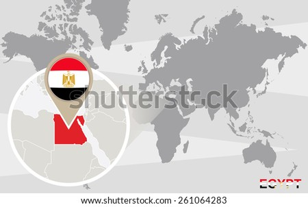 World map with magnified Egypt. Egypt flag and map. - stock vector