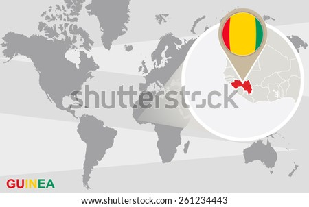 World map with magnified Guinea. Guinea flag and map. - stock vector