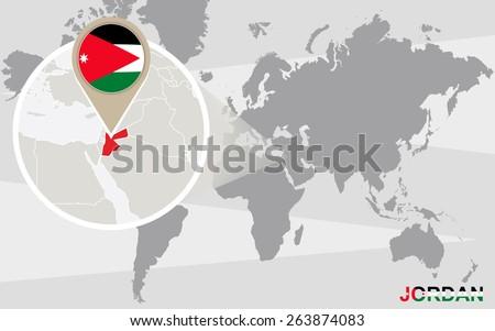 World map with magnified Jordan. Jordan flag and map. - stock vector