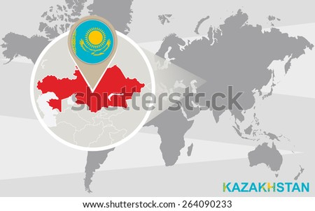 World map with magnified Kazakhstan. Kazakhstan flag and map. - stock vector