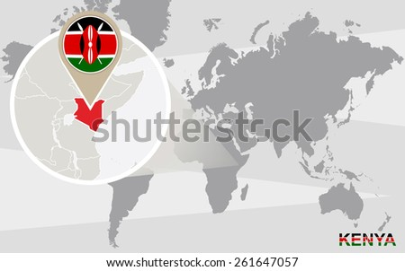 World map with magnified Kenya. Kenya flag and map. - stock vector