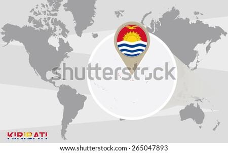World map with magnified Kiribati. Kiribati flag and map. - stock vector