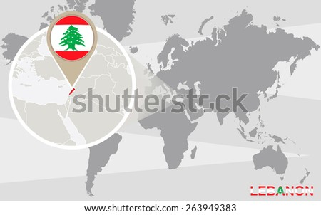 World map with magnified Lebanon. Lebanon flag and map. - stock vector