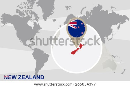 World map with magnified New Zealand. New Zealand flag and map. - stock vector