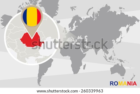 World map with magnified Romania. Romania flag and map. - stock vector