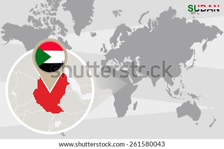 World map with magnified Sudan. Sudan flag and map. - stock vector