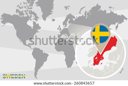 World map with magnified Sweden. Sweden flag and map. - stock vector