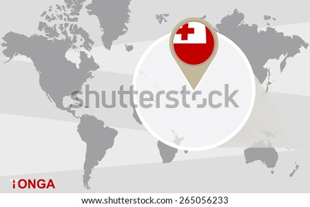 World map with magnified Tonga. Tonga flag and map. - stock vector