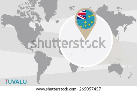 World map with magnified Tuvalu. Tuvalu flag and map. - stock vector