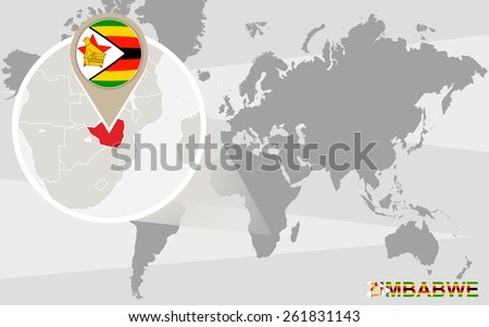 World map with magnified Zimbabwe. Zimbabwe flag and map. - stock vector