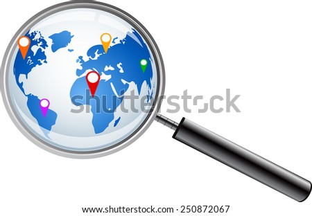 World map with magnifying glass  - stock vector