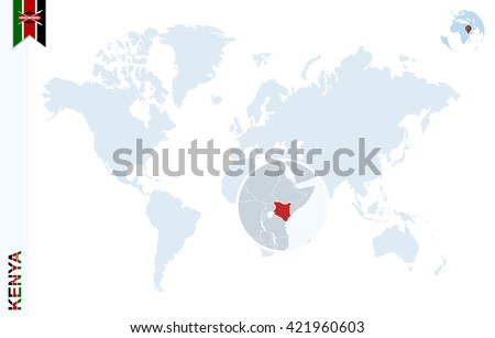 World map with magnifying on Kenya. Blue earth globe with Kenya flag pin. Zoom on map. Vector Illustration - stock vector