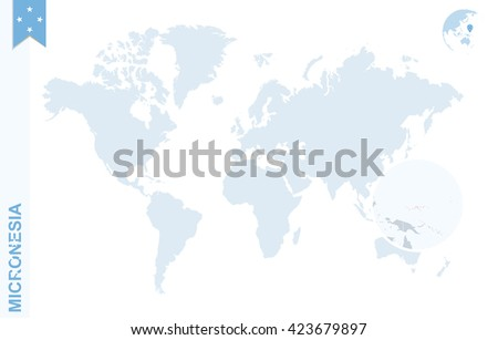 World map with magnifying on Micronesia. Blue earth globe with Micronesia flag pin. Zoom on map. Vector Illustration - stock vector