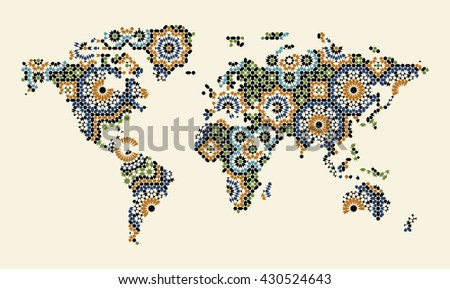 World Map With Morocco Mosaic. Traditional Arabic Islamic Design. Green, blue, black on beige. - stock vector