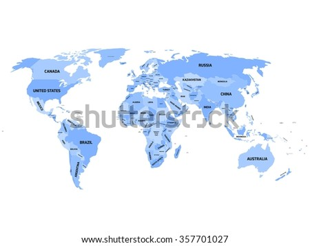World map with names of sovereign countries and larger dependent territories. Simplified vector map in four shades of blue on white background. - stock vector