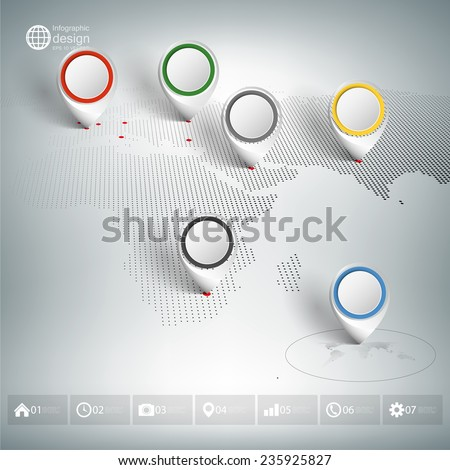 World map with pointer marks. Infographics for business design and website template. - stock vector