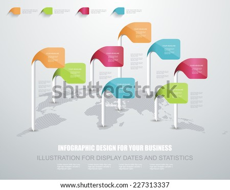 World map with pointer sign - communication concept  - stock vector