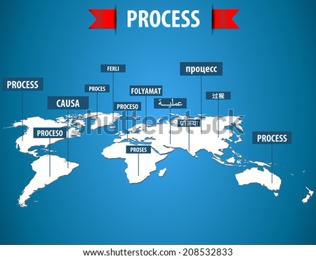 world map with process label in different languages, process management, process concept  -Vector eps10  - stock vector