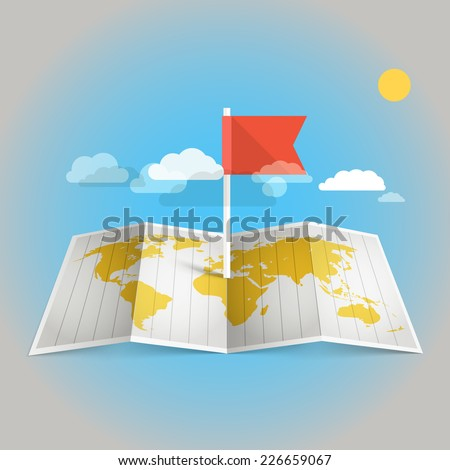 World map with red flag. Design elements - stock vector