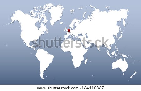 world map with red push pin - stock vector