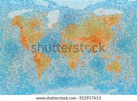 World map with relief depth and height - stock vector