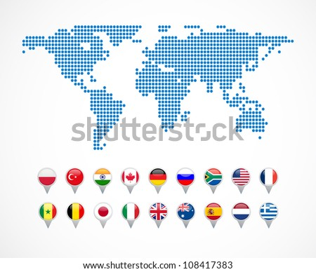 world map with set of navigation icons - stock vector